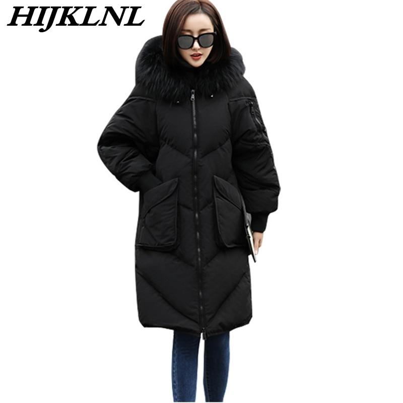 2019 Women Winter   Down     Coat   Large Size Long   Down   Jacket Fashion Warm Solid Outerwear Women Thicken Hooded Fur Collar   Coat   CW064