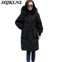 2019 Women Winter Down Coat Large Size Long Down Jacket Fashion Warm Solid Outerwear Women Thicken Hooded Fur Collar Coat CW064