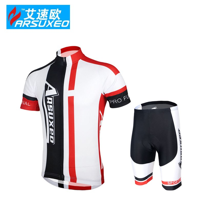 ARSUXEO Mens Cycling MTB Short Sleeves Jersey motocross summer outdoor Bike Bicycle Sets Shirts Padded Cycling Wear Uniforms