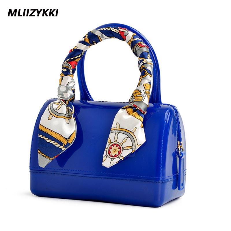 MLIIZYKKI Fashion Small jelly Bag Women Candy Color Messenger Bags Female Handbag Scarves Shoulder Bag