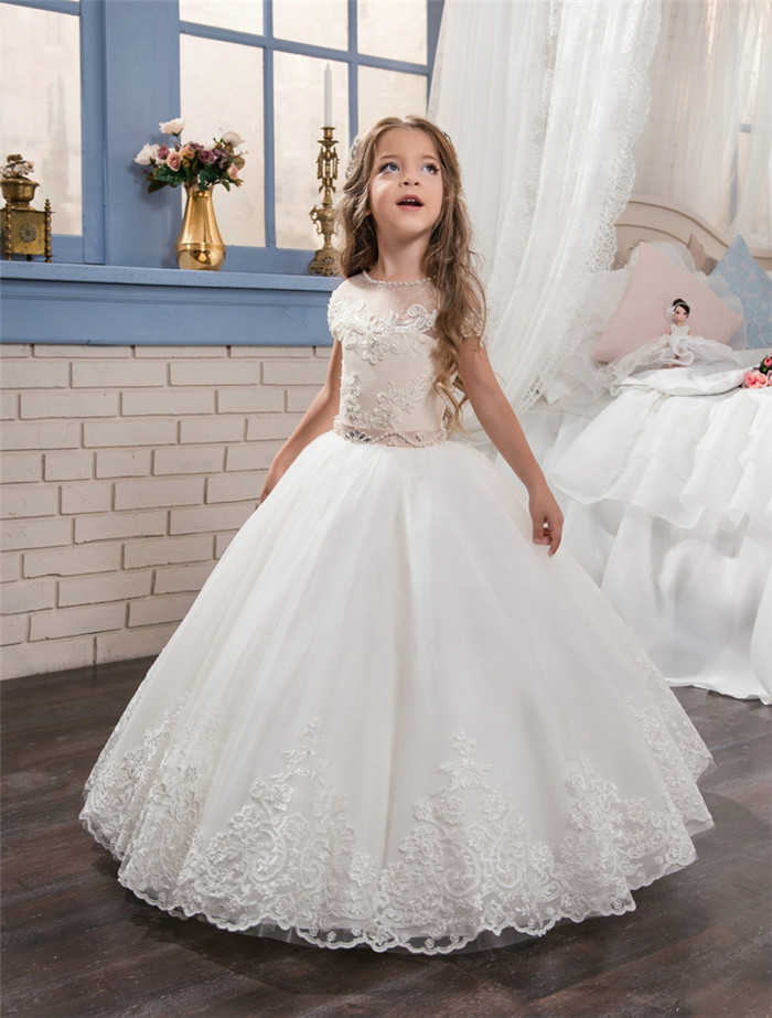 2017 New White Lace Pearls First Communion Dress for Little Girls Pageant Gown Short Sleeve Flower Girl Dresses with Beaded Sash 2018 purple v neck bow pearls flower lace baby girls dresses for wedding beading sash first communion dress girl prom party gown