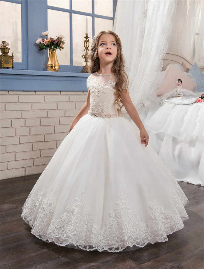 07a2061247 Detail Feedback Questions about 2019 New White Lace Pearls First Communion  Dress for Little Girls Pageant Gown Short Sleeve Flower Girl Dresses with  Beaded ...