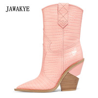 2018 Snakeskin Real Leather Wedges Ankle Boots Women Point Toe Strange High Heel Shoes Woman Fashion Runway Boots