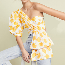 Print  Asymmetrical Off One Shoulder Backless Draped Top