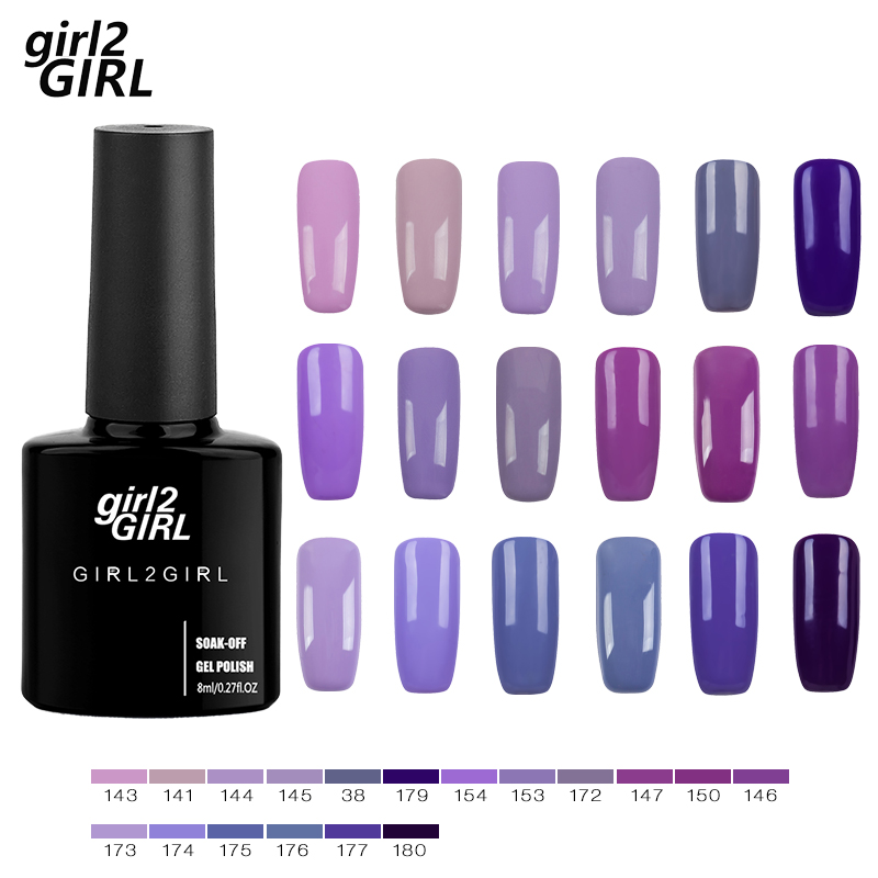 GIRL2girl Gel UV LED Lacquer Polish Long Latest Soak Off Manicure 8ml 280 Colors Super shining Gel Nail Polish Purple set in Nail Gel from Beauty Health