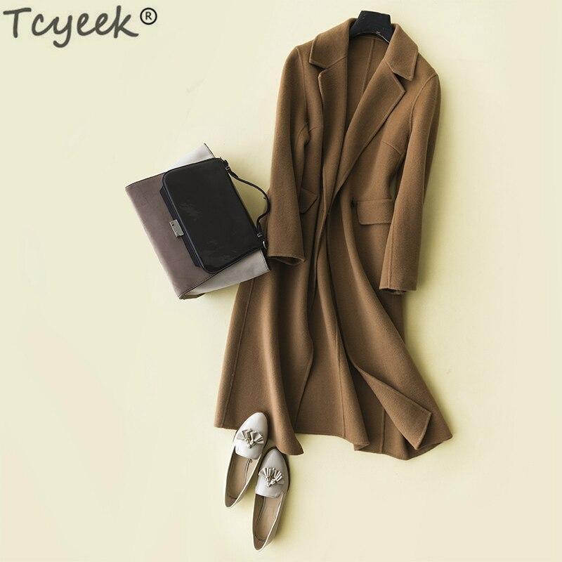 Tcyeek 100% Wool Coats Female Natural Woolen Jackets Women Cashmere Coat Slim Korean Long Winter Spring Clothes 2019 LWL1399