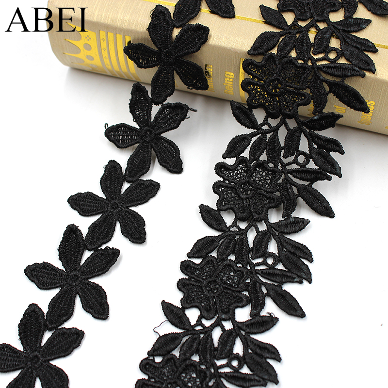 2yards/lot Balck Embroidery Fabric Lace Trims Flower LACE RIBBON DIY Wedding Party Crafts Cloth Garments Hometexile Accessories