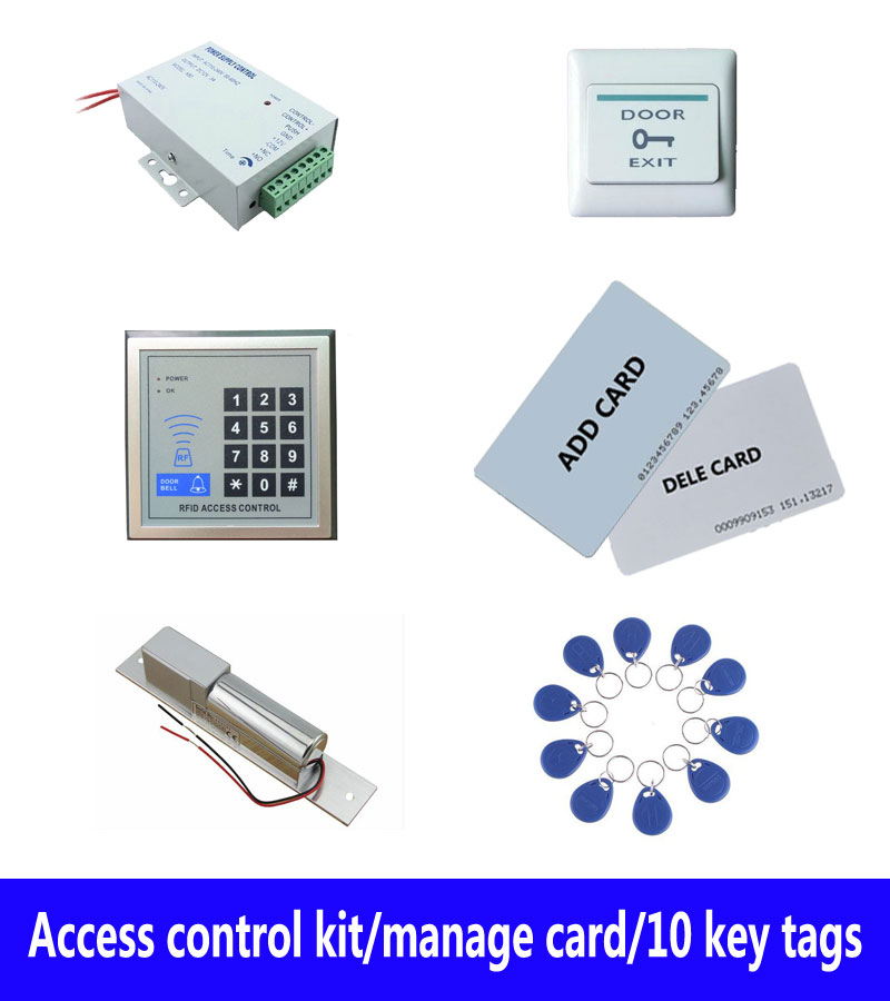 Access control kit,em/ ID keypad access control+ power+bolt lock+exit button+2pcs manage card, 10 keyfob ID tags,sn:set-2 free ship by dhl access control kit waterproof access control switch power electric mute lock exit button 10 em cards sn em t10