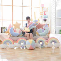 1PC Baby Rainbow Pillow Toys Soft Appease Moon Doll Plush Toys Stuffed Doll Cute Bed Cushion Children Brinquedos Gifts