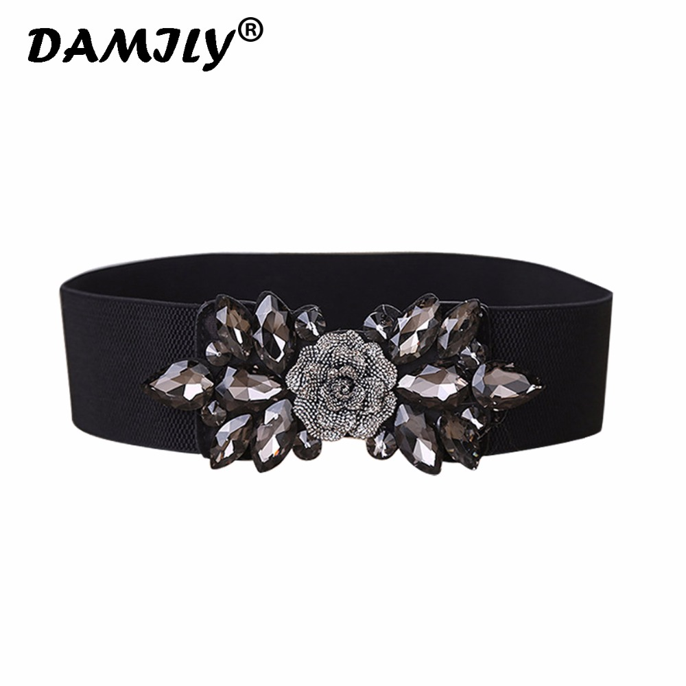 Women Belts Luxury Brand Wide Floral Rhinestone Belt Buckles Stretchy Elastic Waist Belt Fashion Design Waistband For Ladies