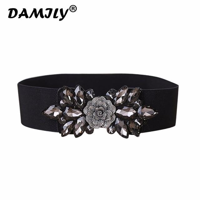 Women Belts Luxury Brand Wide Floral Rhinestone Belt Buckles Stretchy Elastic  Waist Belt Fashion Design Waistband for Ladies 6ff2baa102a5