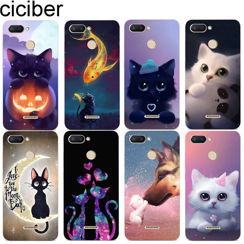 ciciber Animal Cat for Xiaomi Red 6 5 4 3 A X S Plus Pro S2 Soft TPU Cases Back Cover Clear for Redmi Note 6 5 4 3 X A Pro Capa image