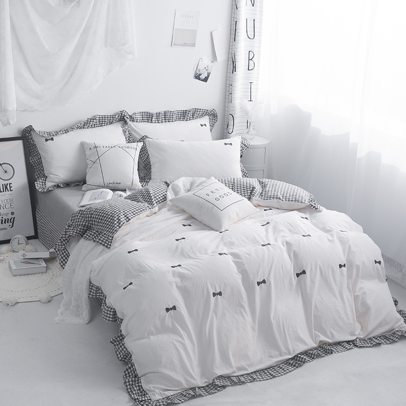 Embroidery Grey Pink White 100%Cotton Bedding Set Kids Girls Twin Queen King size Duvet Cover Bed sheet set Quilt Bedding Sets Embroidery Grey Pink White 100%Cotton Bedding Set Kids Girls Twin Queen King size Duvet Cover Bed sheet set Quilt Bedding Sets