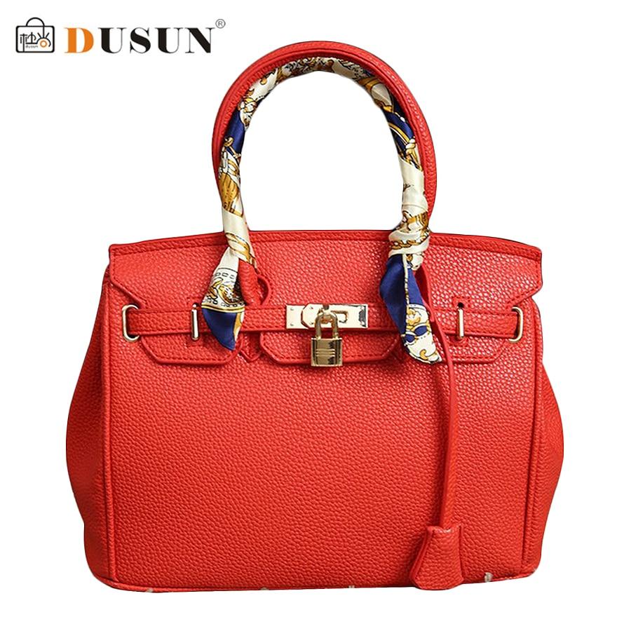 ФОТО DUSUN Fashion Litchi Pattern Pu Leather Large Capacity Handbag Brand Design 2016 New Women Casual Shoulder Messenger Bag