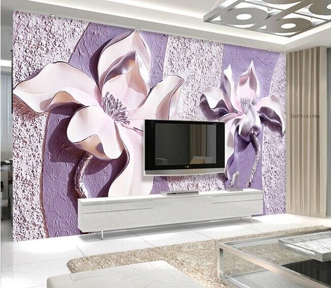 bloemen, 3d paars jade orchidee muurschilderingen voor slaapkamer ...