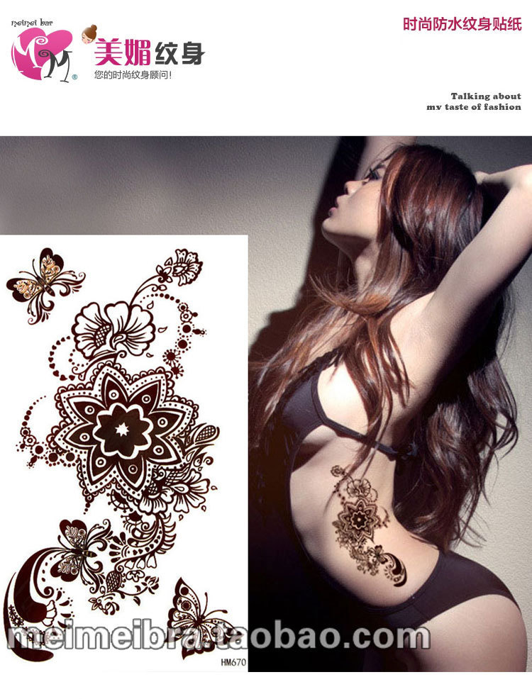 9de8400b6 Sex products ancient indian henna tattoo for body butterfly flower brown temporary  tattoo sticker waterproof mehndi art makeup