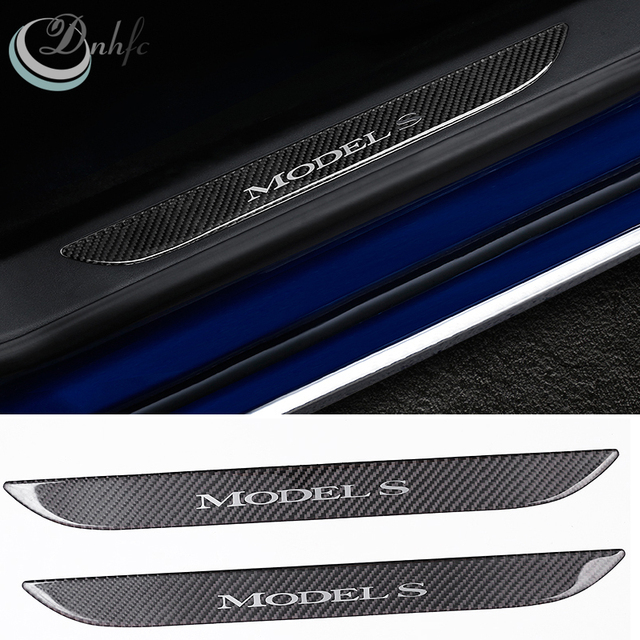 2 Pieces Car Styling Front Door Door Sill Scuff Plate Car Accessories For  Tesla Model