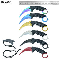 Damask Brand Camping Knife CSGO Counter Strike Machetes Karambit Knife Fixed Stainless Steel Blade Mutli Knife