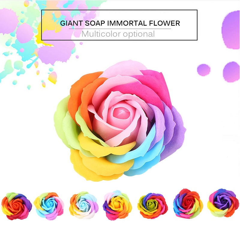 2pcs Artificial Rose Soap Flower Gift Box Floral Gift Petal Valentine'S Day Hotel Decor Party Colorful Romantic Wedding Banquet