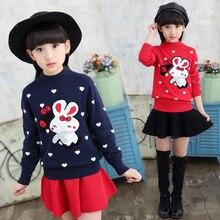 2018 crianças de Inverno camisola roupas O-pescoço Pulôver Outono Crianças camisola para meninas Roupas de Algodão Meninas Camisola Crianças Camisola de Malha