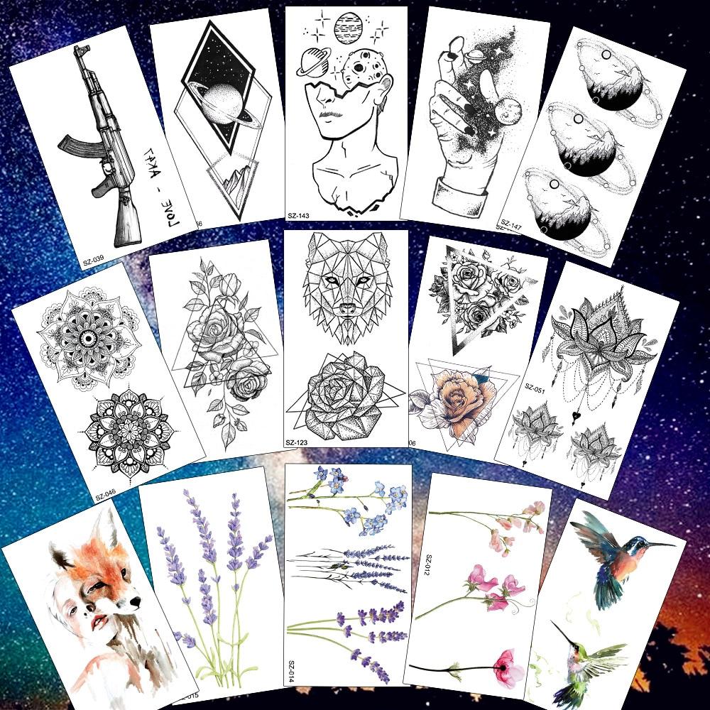 Rejaski Creative Black Tattoo Sticker Women Body Art Planets Temporary Tattoo Men Moon Waterproof Tatoos Long Lasting Kids Tatoo