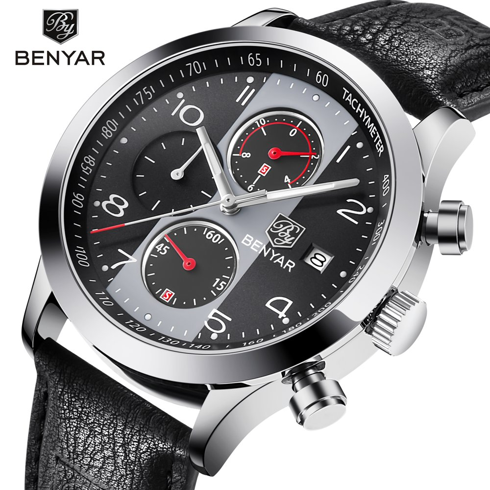 BENYAR Men Sport Watches Leather Quartz Chronograph Waterproof Business Watch Male Wrist Watch Clock Men Relogio Masculino футболка классическая printio собака great dane