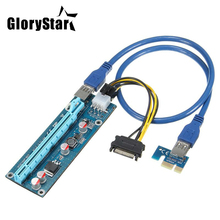 PCI-E Riser PCI E Express 1X to 16X Riser Card 60CM USB 3.0 PCI-E SATA to 6Pin Power Cable for BTC Bitcoin Mining Antminer Miner