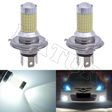 2pcs H4 9003 HB2 Led Fog Lights With Lens For DRL Daytime Driving Lights External Lighting Lamps 3014 Chips 144SMD Auto Replace(China)