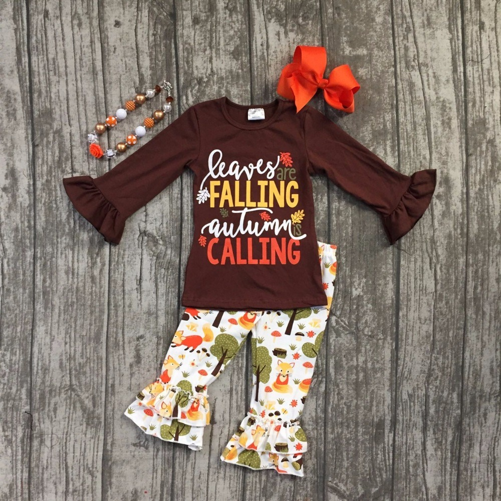 Fall/Winter baby girls brown outfits leaves are Falling autumn calling forest cotton clothes ruffle boutique match accessories