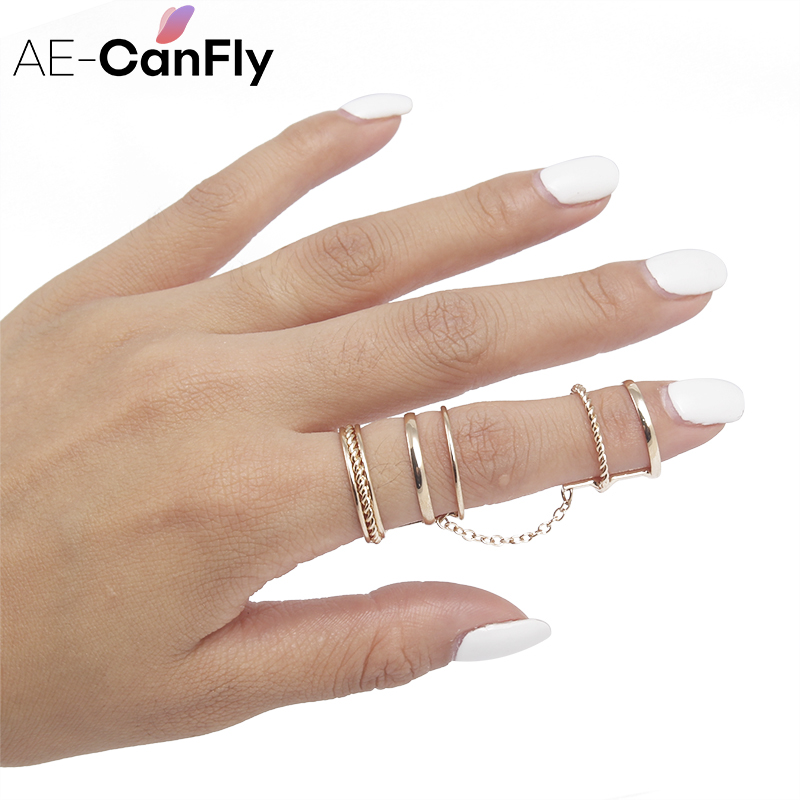 AE-CANFLY New Personalized Gold Jointed Loops Ring Hollow Chain Full finger  Rings for Women 1D1020