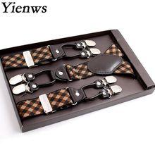 Tirantes Yienws para hombre, pantalones con botones, tirantes, Vintage, comercial, para hombre, 125CM YiA027