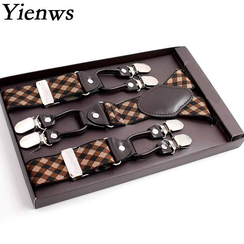 Yienws Mens Suspenders for Trousers Button Pants Braces Man Vintage Commercial Weastern Suspensorio Masculino 125CM YiA027