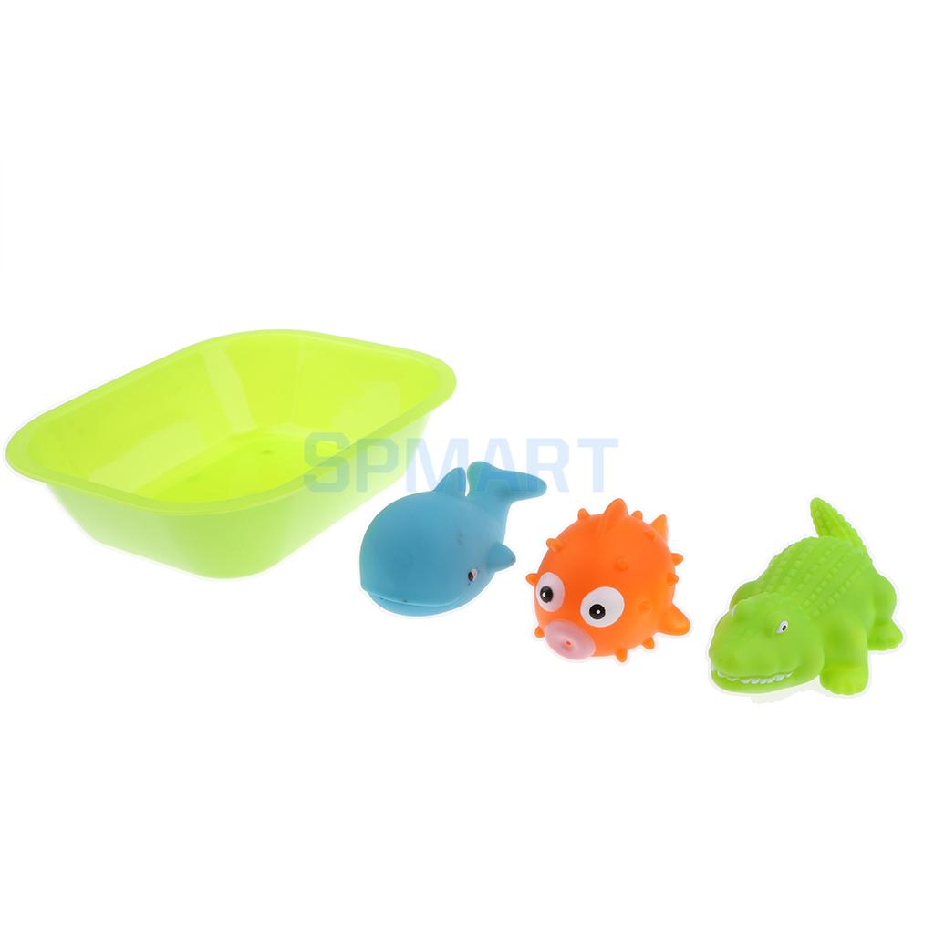 4pcs Floating Soft Rubber Fish Animal Bathtub Toy Squeezing Squeaky Bath Water Kid Toddler Baby Play Game