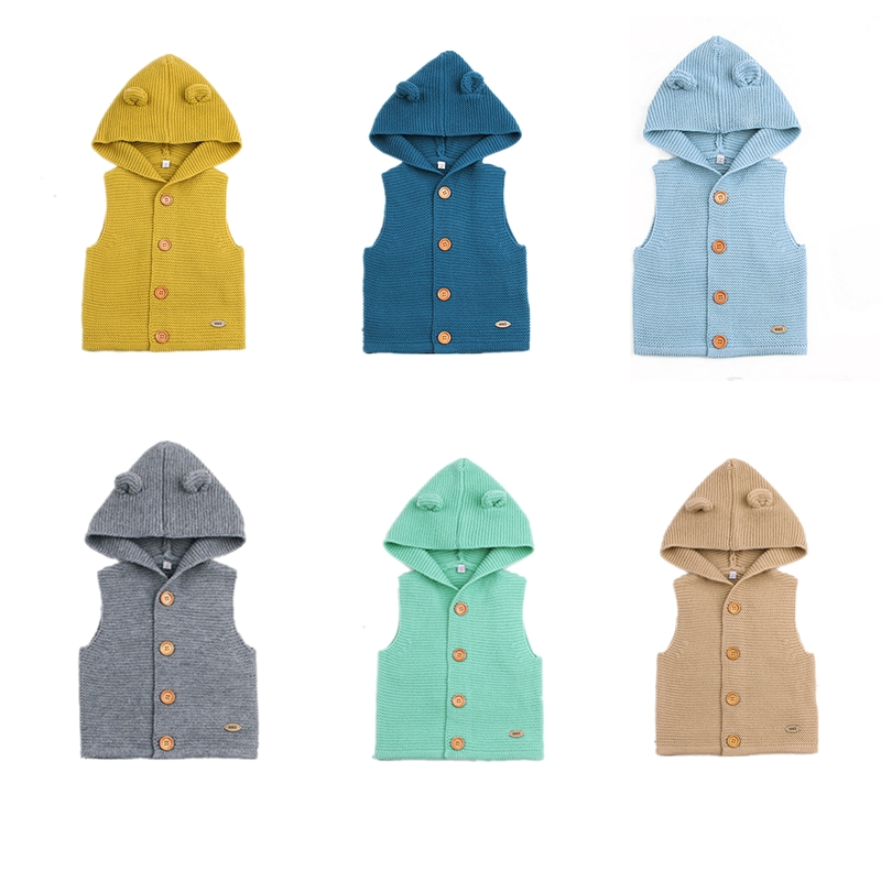 Cotton Baby Girl Clothes Spring Baby Boy Hooded Sweater Solid Newborn Infant Sleeveless Jacket Kid Clothes Autumn Roupas Bebe