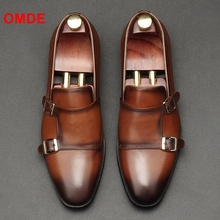 OMDE British Style Top Quality Pointed Toe Formal Shoes Men Monk Strap Leather Handmade Mens Dress Wedding