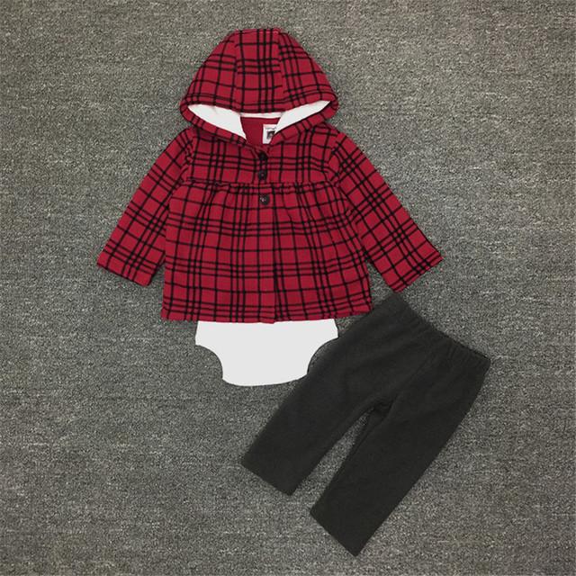 2017 Nova Chegada Do Bebê Meninas Primavera Conjunto de Roupas Menina Casaco Xadrez Vermelho com Hoodies Recém-nascidos Romper + Calça + Roupa 15E