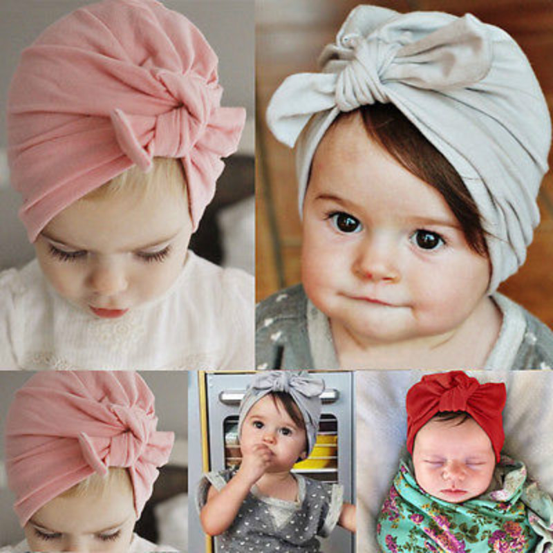 Baby Girl Hats Caps Newborn Baby Toddler Kids Boy Girl Bowknot Soft Cotton Beanie Hats Caps Pink Gray Red Girls Clothes One Size