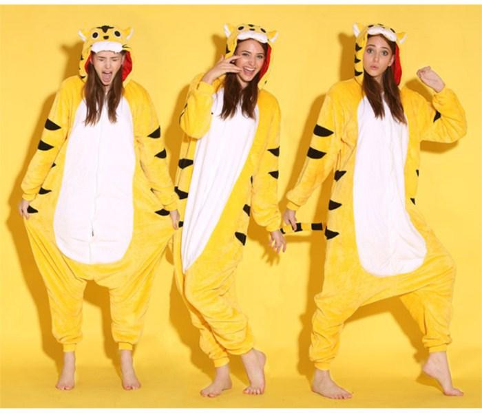 Cartoon Žluté tygři onesies Onesie pyžamo Jumpsuit mikiny Sleepwear pro dospělé pro Halloween