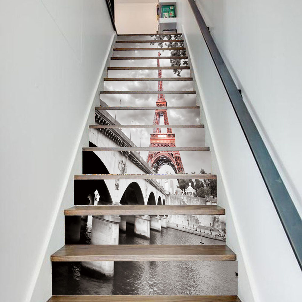 13pcs/set 3D City Tower Bridge DIY Stairs Art Mural Walll Sticker Step Decoration Poster Landscape PVC Self-adhesive Wallpaper