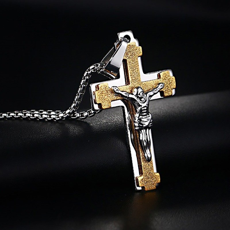 Meaeguet 2 In1 Jesus Cross Crucifix Pendant Necklace Men's Jewelry Stainless Steel Antique Necklaces For Male 24 Inch