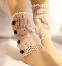 2016 Women short Knitted button down Boot Cuffs Laced Trim Toppers Socks leg warmers Crochet booty Gaiters 20pairs/lot #3870(China)