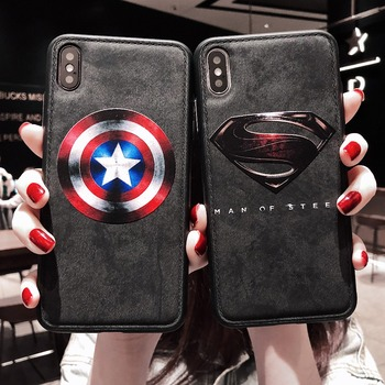 Hot Cartoon Avengers Batman Superman iron Man Cover Case For iphone 7 8 6 6s Plus X XS MAX XR Cloth Canvas Silicone gray coque marvel glass iphone case