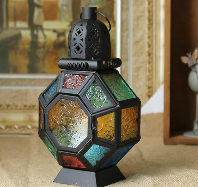 estilo europeo negro colgante coloreado de cristal titular de la vela de la boda candelabro colgando linterna hogar artesana de