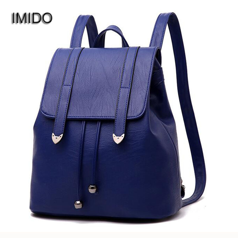 IMIDO Hot 2017 New Brand leather backpacks women shoulder bags travel female backpack black blue Red