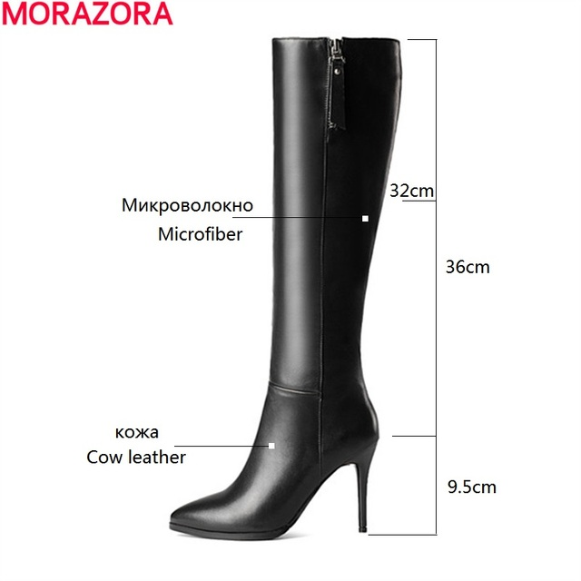 MORAZORA Thin heels shoes fashion elegant womens boots genuine leather + microfiber knee high boots party zip pointed toe