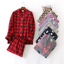 Feminino outono & inverno puro algodão pijama terno manga longa adorável casual xadrez coreano solto dos desenhos animados casa terno mais tamanho pijamas conjunto
