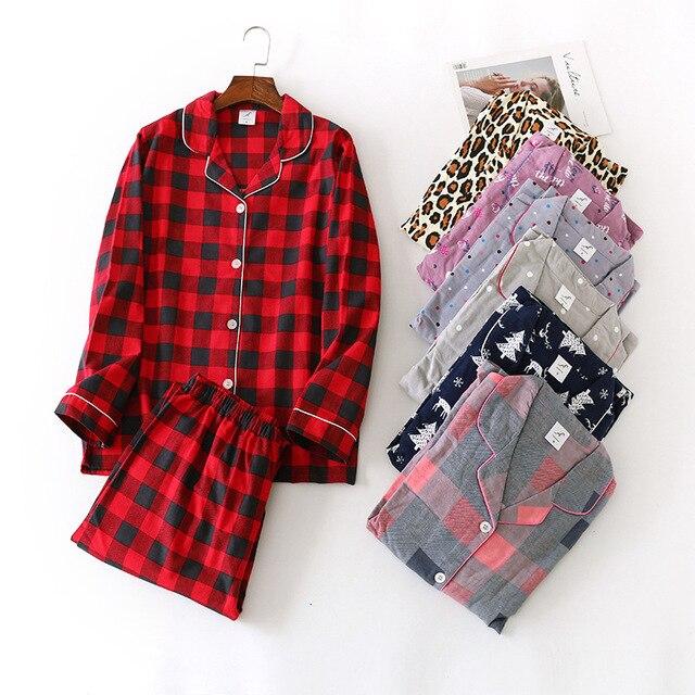 Women Autumn&winter Pure Cotton Pajama Suit Long Sleeve Lovely Casual Plaid Korean Loose Cartoon Home Suit Plus Size Pajamas Set