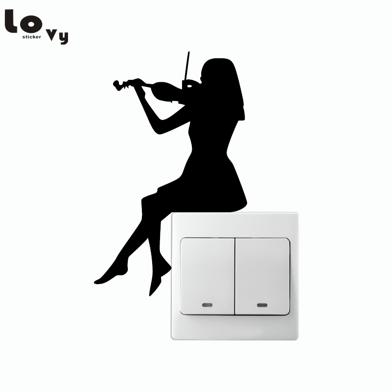 Girl Playing Violin Silhouette Switch Sticker Classical Music Art Wall Stickers For Music Room Girl's Bedroom Home Decor