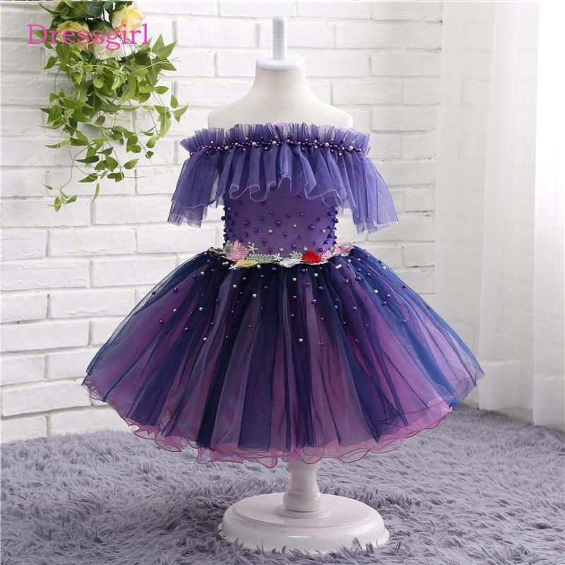 Dark Purple 2019   Flower     Girl     Dresses   For Weddings A-line Cap Sleeves Tulle Pearls First Communion   Dresses   For Little   Girls