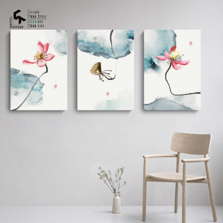 CREATE&RECREATE Chinese Ink Lotus Flower Posters And Prints Canvas Art Wall Painting Decorative Pictures for Home CR1810110039